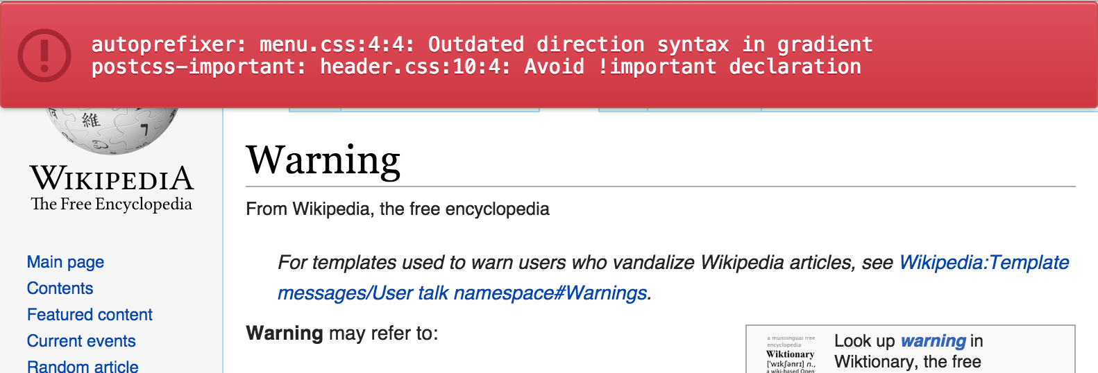 Postcss-browser-reporter – warnings from other postcss plugins in your browser